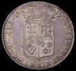 London Coins : A162 : Lot 2288 : Halfcrown 1689  First Shield, Caul Only Frosted, with Pearls, ESC 505, Bull 831 NVF with some gold t...