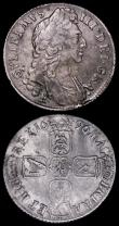 London Coins : A162 : Lot 2498 : Shillings (2) 1696C First Bust ESC 1082, Bull 1165Fine, on a porous flan, 1696E ESC 1084, Bull 1180,...