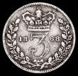 London Coins : A162 : Lot 2718 : Threepence 1868 RRITANNIAR error ESC 2075A, Bull 3408 VG/About Fine the error legend very clear. Ver...