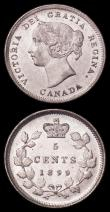London Coins : A162 : Lot 2908 : Canada 5 Cents 1899 KM#2 EF, Philippines 50 Centimos 1885 KM#150 EF, Araucania-Patagonia 100 Pesos 1...