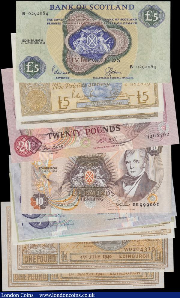 Scotland Bank of Scotland (17), 20 Pounds dated 1st December 1987, (Pick114e) VF, 10 Pounds dated 7th May 1992, (Pick117a) Uncirculated, 10 Pounds dated 13th April 1993 LAST RUN HIGH No. series GG999061, (Pick117a) Uncirculated, 5 Pounds (8) date range 1961 - 1995, includes FIRST RUN RADAR No. AA482284, 1 Pound (6) date range 1940 - 1972, includes a consecutively numbered pair dated 1972 Uncirculated, most notes in collection EF or better : World Banknotes : Auction 162 : Lot 337