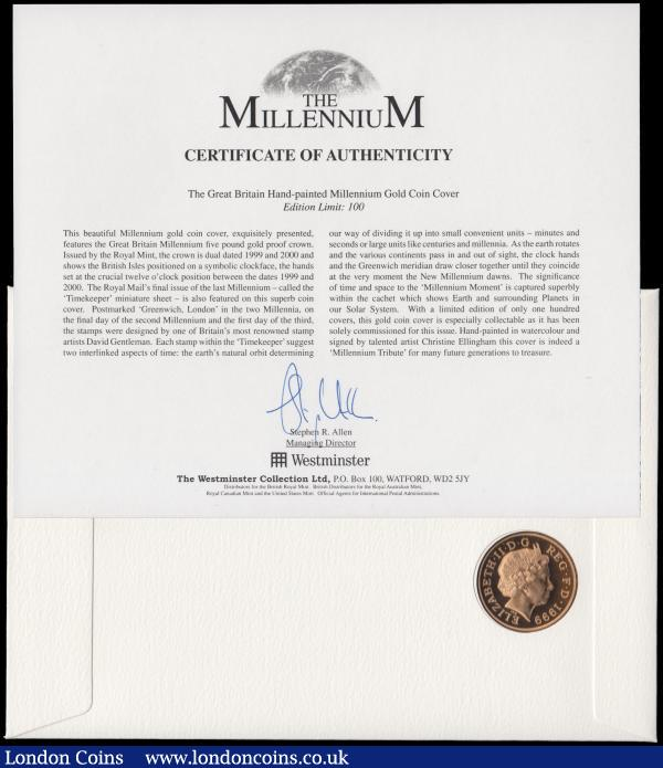 Five Pounds 1999 Millennium Gold Proof FDC in Westminster's First Day Cover presentation pack    : English Cased : Auction 162 : Lot 465