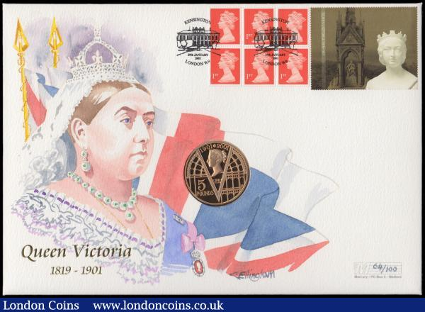 Five Pounds 2001 Victorian Age Gold Proof FDC in Westminster's First Day Cover presentation pack    : English Cased : Auction 162 : Lot 468
