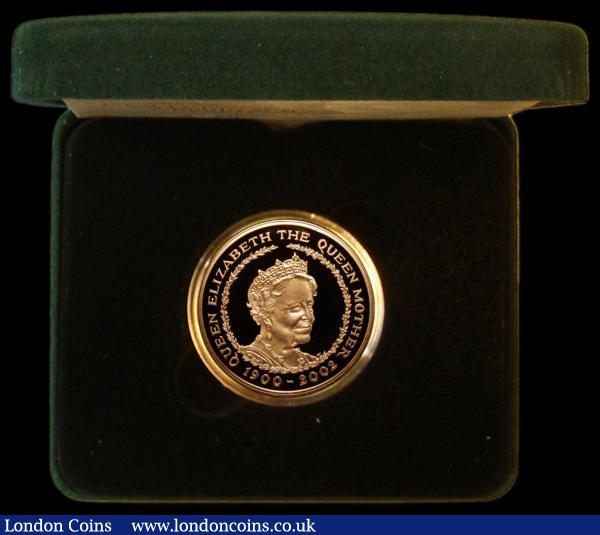 Five Pounds 2002 Gold Proof Crown Queen Mother Memorial FDC cased as issued with certificate : English Cased : Auction 162 : Lot 470