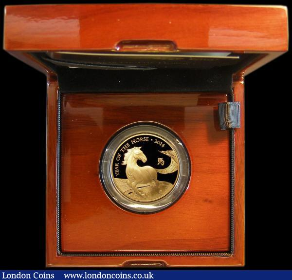 One Hundred Pounds 2014 - Year of the Horse Gold Proof in the Royal Mint box of issue with certificates 31.21 grams of pure 999.9 gold and with an issue limit of just 888, cost £1,950 when issued : English Cased : Auction 162 : Lot 495