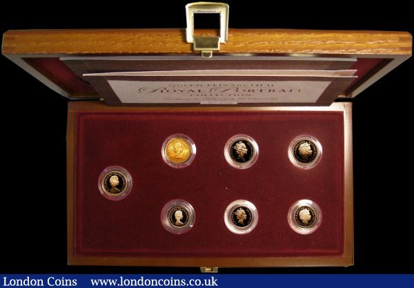Queen Elizabeth II Royal Portrait Collection a scarce 7 coin issue Sovereign 1963, Proof Sovereign 1984, 1986, 2003 Proof Half Sovereigns 1980, 1986, 2003 the 1963 GEF others FDC in the Royal Mint's presentation box with certificates, this the collection number 106 of an issue limited to just 750 sets : English Cased : Auction 162 : Lot 548