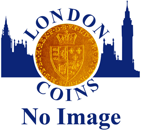 London Coins : A163 : Lot 815 : Shilling 1743 3 over 1 Roses ESC 1203A, Bull 1721 EF with an attractive green and gold tone