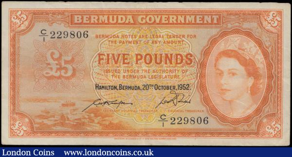 Bermuda 5 Dollars dated 20th October 1952 series C/1
