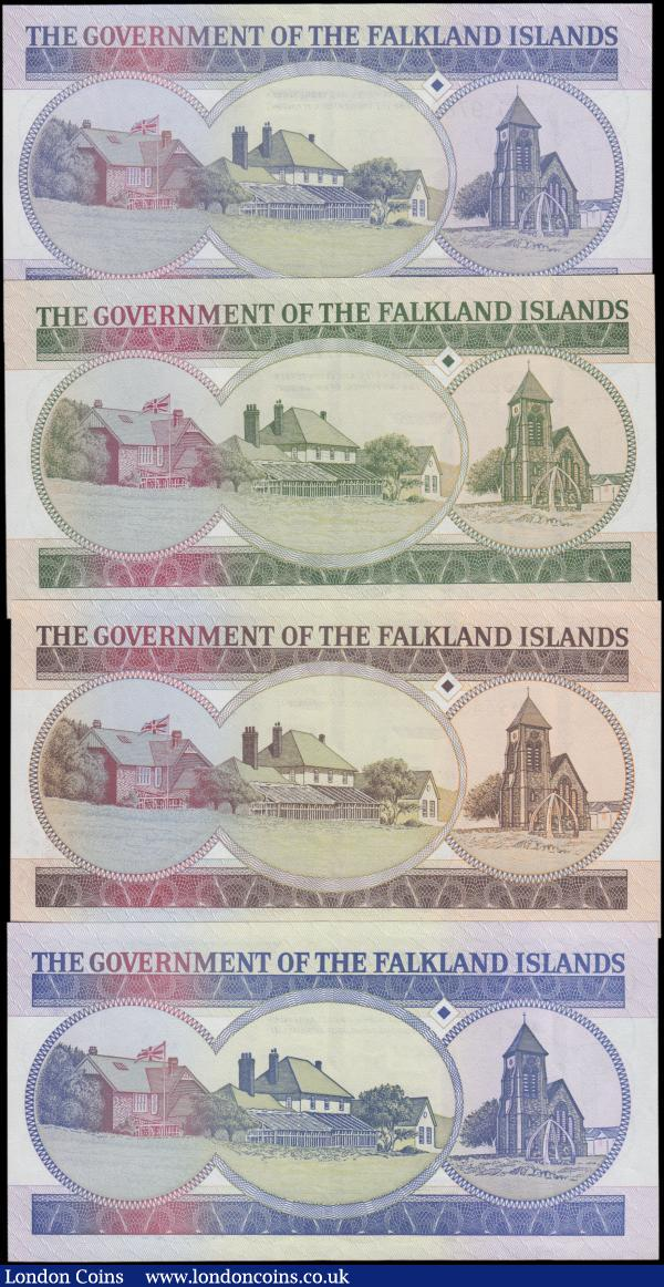 Falkland Islands (4), 50 Pounds dated 1990 series A007390, (Pick16a), 20 Pounds dated 1984 series A033433, (Pick15a), 10 Pounds dated 1986 series A182781, (Pick14a), 1 Pound dated 1984 series A019769, (Pick13a), Uncirculated or about : World Banknotes : Auction 163 : Lot 1452