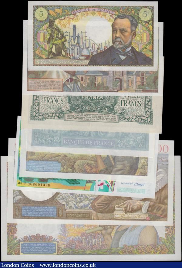 France (8), a high grade collection, 10 Francs dated 1941 (Pick84) about UNC, 50 Francs dated 1941 (Pick93) good EF, 100 Francs dated 1941 (Pick94) UNC, 500 Francs dated 1941 (Pick95b) UNC, 1000 Francs dated 1944 (Pick107) good EF, 10 Nouveaux Francs dated 1961 (Pick142a) good EF, 5 Francs dated 1969 (Pick146b) good EF, 500 Francs dated 1994 (Pick160a) about UNC  : World Banknotes : Auction 163 : Lot 1455