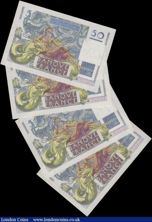 France 50 Francs (4), dated 20th March 1947, a consecutively numbered run series B.46 27001 to B.46 27004, (Pick127b), no staple holes, EF : World Banknotes : Auction 163 : Lot 1457