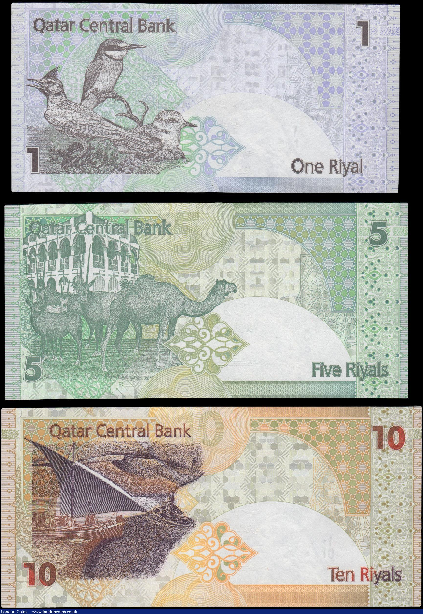 Lot of 5 Bank Notes from Qatar 1 Riyal Uncirculated