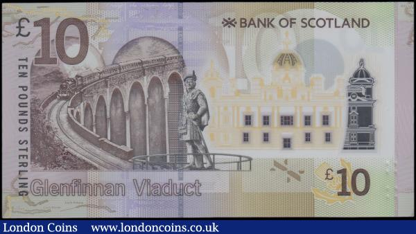 Scotland 10 Pounds Bank of Scotland, EXPERIMENTAL polymer issue, dated 1st June 2016 series XX010289, portrait Sir Walter Scott at right, (Pick131a), Uncirculated and very rare : World Banknotes : Auction 163 : Lot 1554