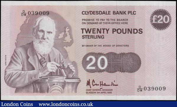 Scotland Clydesdale Bank PLC 20 Pounds dated 8th April 1985 series D/DW 039009, portrait Lord Kelvin at left, (Pick215b), about Uncirculated and scarce in this condition : World Banknotes : Auction 163 : Lot 1562