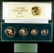 London Coins : A163 : Lot 1929 : United Kingdom 1980 Gold Proof Four Coin Sovereign Collection, Gold Five Pounds, Two Pounds, Soverei...