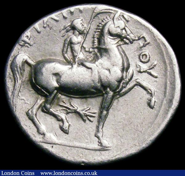Ancient Greece - Macedonia Tetradrachm Philip II (359-336BC) Obverse Head of Zeus right, Reverse Jockey on horseback, right, thunderbolt below horse, 14.14 grammes, VF  : Ancient Coins : Auction 163 : Lot 197