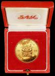 London Coins : A163 : Lot 2005 : Rhodesia Five Pounds 1966 Gold Proof KM#7 nFDC with some toning, in the red South Africa box of issu...