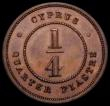 London Coins : A163 : Lot 2067 : Cyprus Quarter Piastre 1879 Proof KM#1.1 UNC and nicely toned, very Rare as a Proof issue