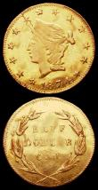 London Coins : A163 : Lot 2180 : USA Half Dollar 1874 California Gold Round flan Good Fine, Quarter Dollar California Gold 1872 NVF w...