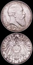 London Coins : A163 : Lot 2449 : German States (2) Baden 2 Marks 1902 Friedrich I 50th Year of Reign KM#271 A/UNC, Bavaria 2 Marks 19...
