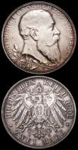 London Coins : A163 : Lot 2450 : German States (2) Baden 2 Marks 1902 Friedrich I 50th Year of Reign KM#271 EF/GEF, Bavaria 2 Marks 1...