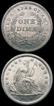London Coins : A163 : Lot 2559 : USA Half Dollar 1818 nicely toned bold Fine/nVF  with a die flaw obverse and Dime 1840 no drapery br...