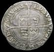 London Coins : A163 : Lot 351 : Sixpence Edward VI Fine Silver issue S.2483 mintmark y NVF lightly creased with touches of underlyin...