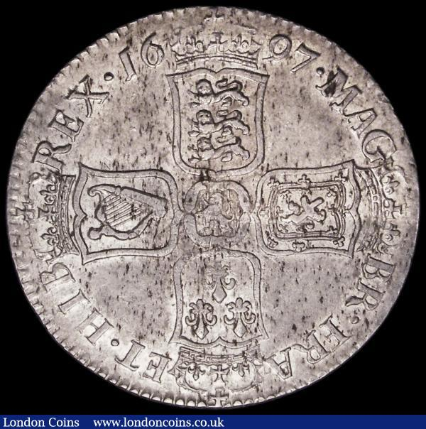 Halfcrown 1697 NONO, Large Shields, Later Harp, ESC 541, Bull 1021, GVF/NEF with underlying lustre and some light haymarking : English Coins : Auction 163 : Lot 573