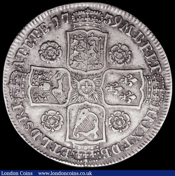 Halfcrown 1739 Roses ESC 600, Bull 1679 VF/GVF, with pleasing tone and much overall eye appeal  : English Coins : Auction 163 : Lot 590