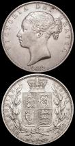 London Coins : A163 : Lot 687 : Halfcrowns (2) 1836 ESC 666, Bull 2482 NEF with some very small rim nicks, 1885 ESC 713, Bull 2765 N...