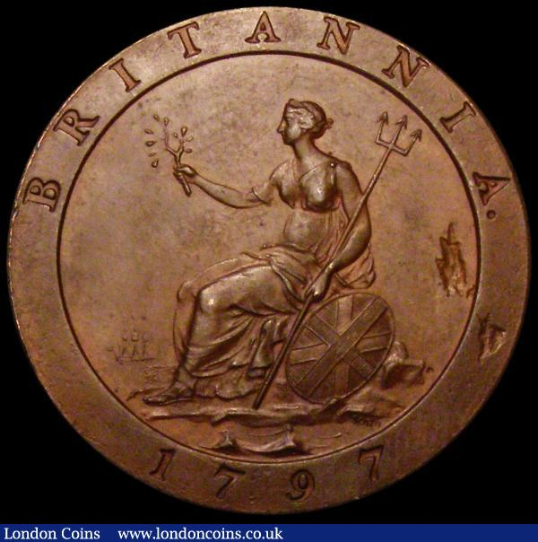 Penny 1797 Proof in Bronzed Copper Peck 1115 KP15 UNC, struck on an imperfect blank with two flan flaws in the reverse field, and with thin scratches in the obverse field  : English Coins : Auction 163 : Lot 756
