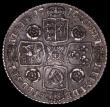 London Coins : A163 : Lot 817 : Shilling 1747 Roses ESC 1209, Bull 1728 VF/GVF toned with very light adjustment lines and haymarks