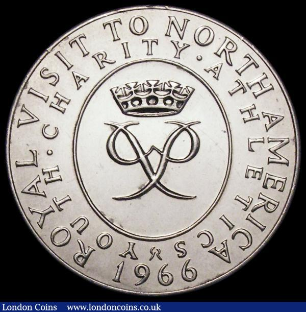 Prince Philip, Visit to North America 1966 38mm diameter in silver by Spink & Son Eimer 2110, Obverse:- Bust left, uniformed, H.R.H. THE PRINCE PHILIP DUKE OF EDINBURGH, Reverse:- Prince Philip's cypher YOUTH. CHARITY. ATHLETICS. ROYAL VISIT TO NORTH AMERICA UNC and lustrous  : Medals : Auction 163 : Lot 82