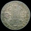 London Coins : A163 : Lot 842 : Sixpence 1705 Plumes, Early Shields, ESC 1584, Bull 1448 VF and attractively toned with touches of g...