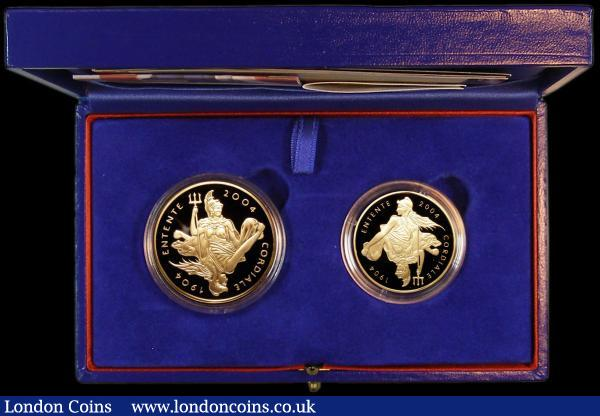 GB/France The Entente Cordiale 100th Anniversary Gold set a 2-coin set comprising GB Five Pound Crown 2004 Gold Proof S.L13 and France 20 Euros 2004 KM#2011 Gold Proof both FDC in the box of issue with certificates : English Cased : Auction 164 : Lot 103