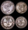London Coins : A164 : Lot 1174 : Maundy Set 1839 the Fourpence, Threepence and Twopence all with upright die axis as on the Proof str...