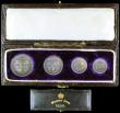 London Coins : A164 : Lot 1194 : Maundy Set 1900 ESC 2515, Bull 3558 EF to AU with matching tone, the Twopence and Penny with small r...