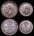 London Coins : A164 : Lot 1204 : Maundy Set 1927 ESC 2544, Bull 3987 EF to A/UNC the Threepence with small rim nicks