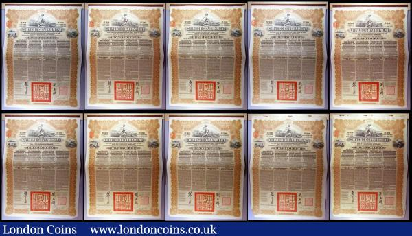 China, Chinese Government 1913 Reorganisation Gold Loan, 10 x bonds for £20, Hong Kong & Shanghai Bank issues, vignettes of Mercury and Chinese scenes, black & brown with coupons Fine to VF some with pencil or ink annotations : Bonds and Shares : Auction 164 : Lot 13