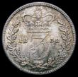 London Coins : A164 : Lot 1517 : Threepence 1838 ESC 2048, Bull 3362 UNC or near so and nicely toned over original lustre, with minor...