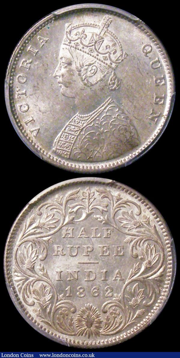 India in PCGS holders (2) Half Rupee 1862 (b&m) KM#472