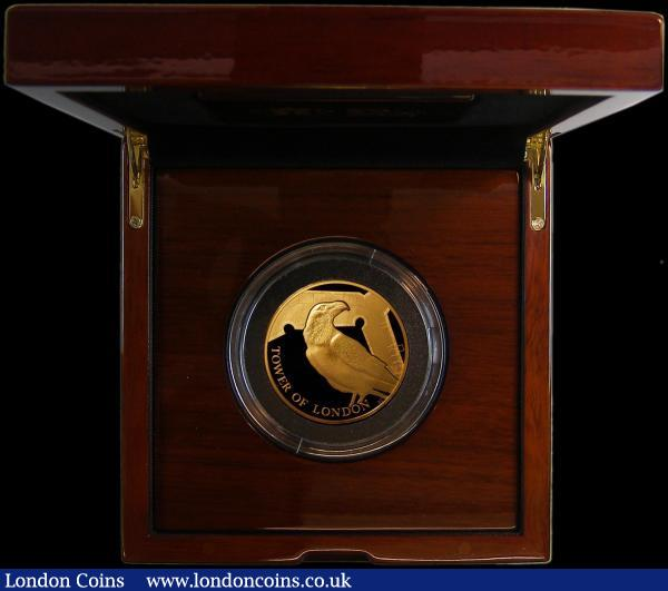 Ten Pounds The Tower of London - The Legend of the Ravens 2019 5oz. Gold Proof FDC in the impressive Royal Mint box of issue with certificate, number 28 of a very low mintage of 45 pieces, with only 35 in this presentation format, the first of a set of 4 pieces to be minted for the Tower of London series, currently £8645 on the Royal Mint website : English Cased : Auction 164 : Lot 180