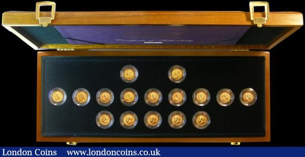 The Half Sovereign Collection 1900-1915 a 16-coin set comprising 1900 Marsh 495 NVF/VF, 1901 Marsh 496 Fine, 1902 Marsh 505 GVF/NVF, 1903 Marsh 506 NVF/GF, 1904 with B.P.Marsh 507A GVF/VF, 1905 Marsh 508 Good Fine, 1906 Marsh 509 NVF/GF, 1907 Marsh 510 NVF/GF, 1908 Marsh 511 NVF, 1909 Marsh 512 Good Fine, 1910 Marsh 513 NVF, 1911 Marsh 526 EF/NEF, 1912 Marsh 527 NEF, 1913 Marsh 528 GVF, 1914 Marsh 529 NEF, 1915 Marsh 530 NEF/GVF in the impressive Royal Mint wooden presentation box with certificate and booklet : English Cased : Auction 164 : Lot 185
