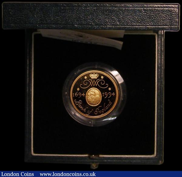 Two Pounds 1994 Tercentenary of the Bank of England Gold Proof S.K4A the error mule missing the 'TWO POUNDS' below the Queen's head, FDC in the Royal Mint box of issue with certificate number 642 : English Cased : Auction 164 : Lot 190