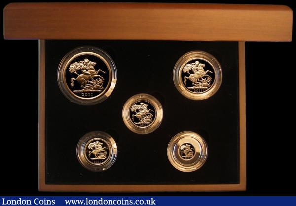 United Kingdom 2011 Gold Proof Set a 5-coin set Five Pounds, Two Pounds, Sovereign, Half Sovereign and Quarter Sovereign S.PGS58 FDC in the Royal Mint box of issue with certificate : English Cased : Auction 164 : Lot 217