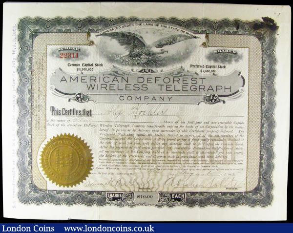 USA American DeForest Wireless Telegraph, Maine, 1905, 10 shares of $10, Fine with small nicks to the edge : Bonds and Shares : Auction 164 : Lot 22