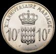 London Coins : A164 : Lot 250 : Monaco 10 Francs 1966 Prince Rainier and Princess Grace 10th Wedding Anniversary, X#M1, minted by th...