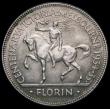 London Coins : A164 : Lot 288 : Australia Florin 1934-5 Centenary of Victoria and Melbourne KM#33 EF/About EF with tone lines on the...