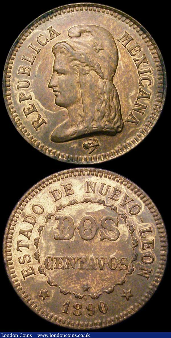 Brazil 40 Reis 1889 Copper Pattern KM#Pn171 UNC or near so, lists at $850 in Krause, Mexico Two Centavos 1890F Copper Pattern UNC with some lustre (struck in Nurnberg, Germany) : World Coins : Auction 164 : Lot 314