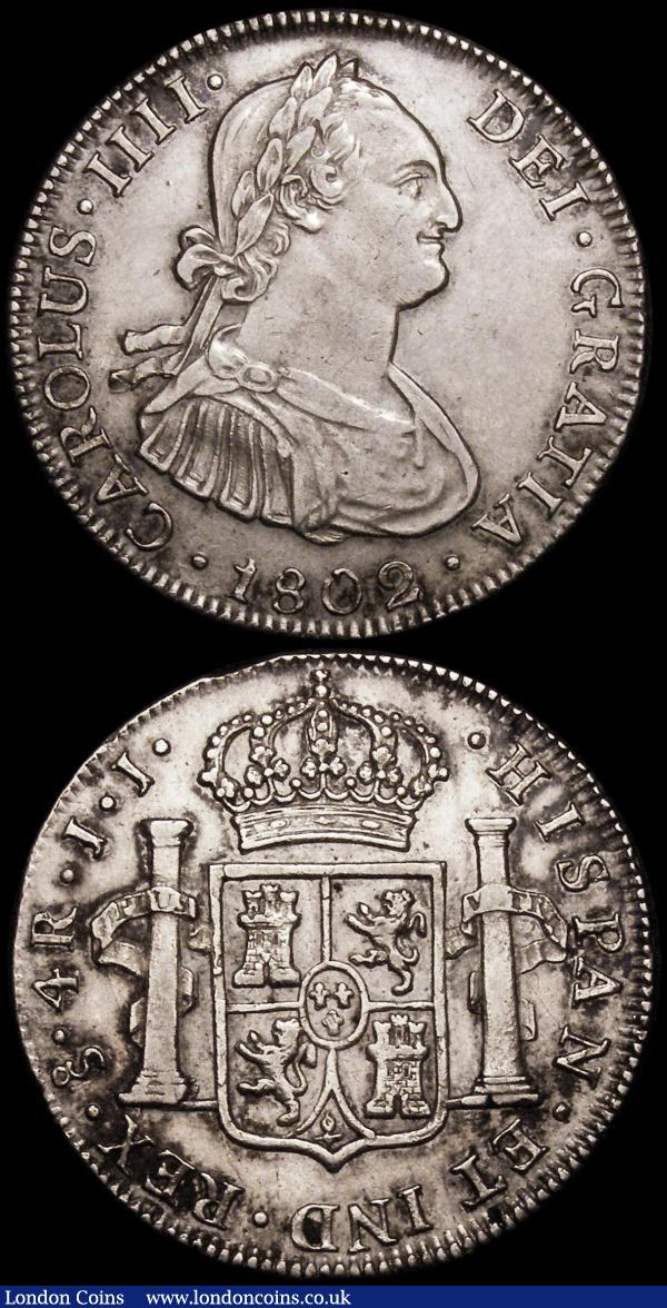 Chile 4 Reales 1802 JJ KM#60 GVF the reverse with some toning in the legends, Peru One Sol 1895 TF KM#196.26 NEF toned : World Coins : Auction 164 : Lot 328